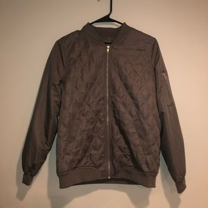 Dark gray satin quilted bomber jacket